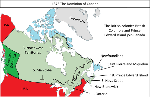 Map Of Canada In 1873.Dominion Day Canzuk