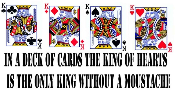 In A Standard Deck Of 52 Playing Cards, Which King Does Not Have A Moustache