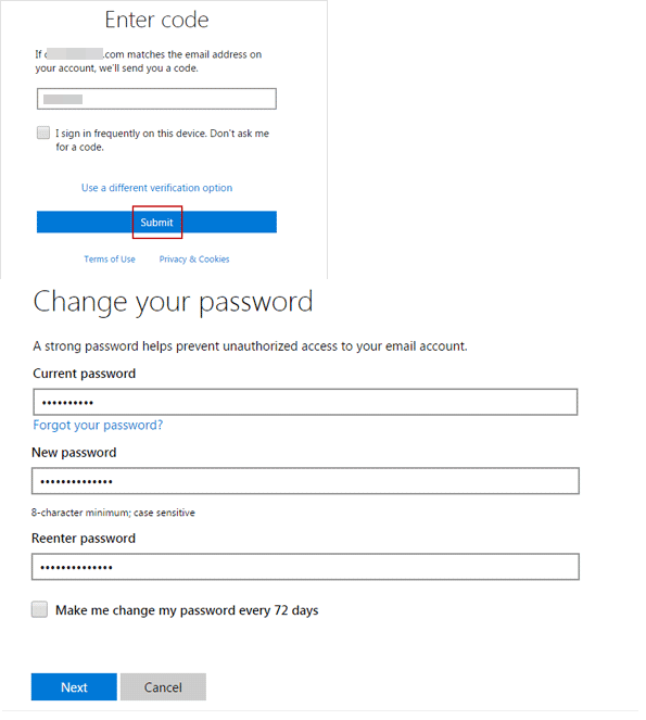 enter microsoft security code