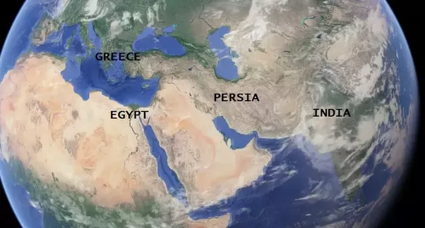 Why are there different names for countries like misre for egypt looking at the map below it is evident that both greece and egypt were introduced to indians by the persians and indians used the same name as that of the gumiabroncs Images