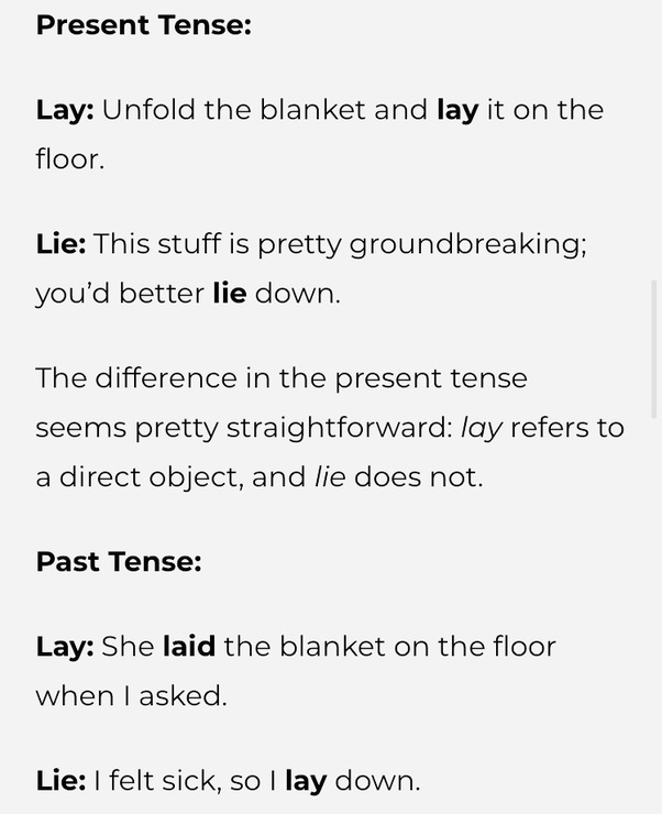 Is it laying or lying in the bed? - Quora