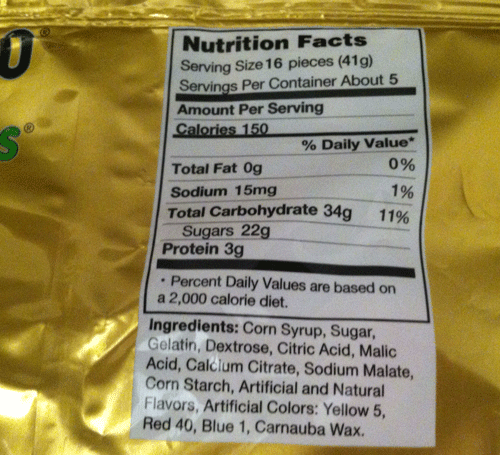 Nutritional value of gummy bears