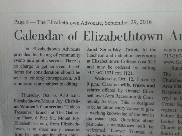 The Part That Says, U201cPage 8 U2014 The Elizabethtown Advocate, September 29,  2016,u201d Is The Folio.