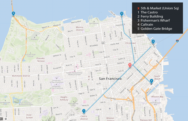 What are the best locales to access the Castro, Union Square, Market ...
