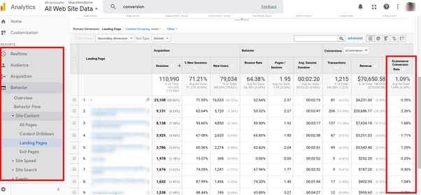 What is Ecommerce conversion rate in Google analytics? - Quora