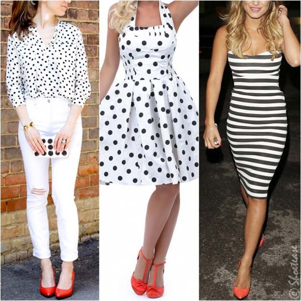 Does a black and white dress combine with red shoes?