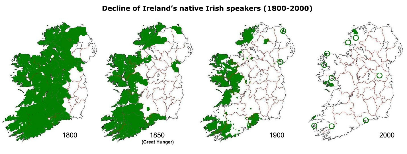 Map Of Ireland Gaeilge.How Many Irish In The 19th Century Came To The Us With Gaelic As A