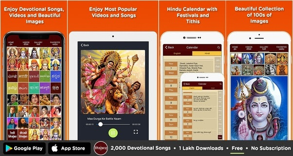 In which app can I listen to all kinds of devotional songs