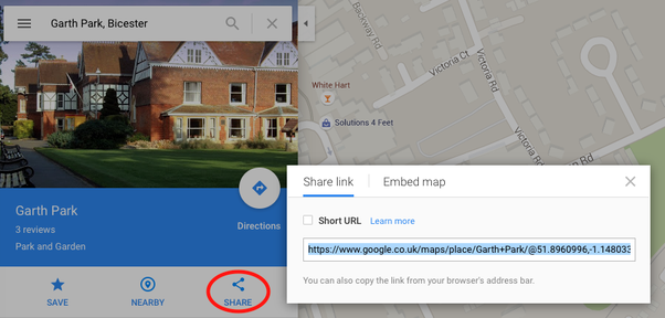 How to add a saved place from google maps to a google calendar event search for the place in google maps click the share link and then copy the url it gives you into your calendar event ccuart Images