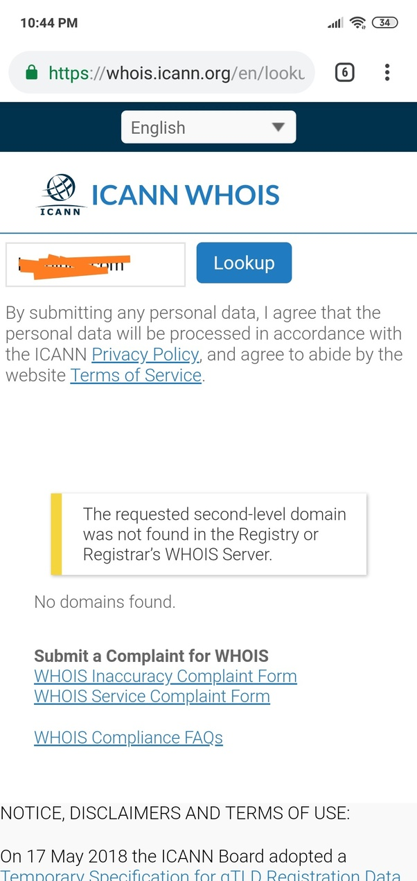 What does this mean, 'The requested second-level domain was