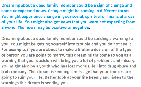 What does it mean if you see a dead family member in your dreams? - Quora