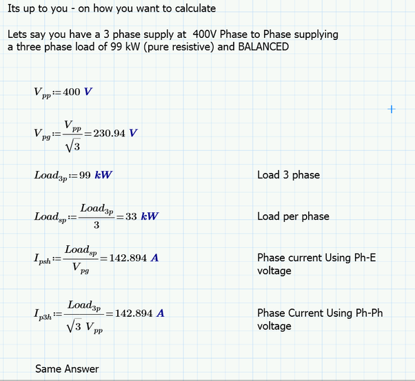 Why do we calculate the full load current by phase to phase voltage