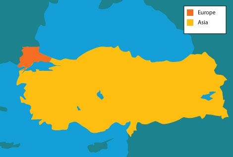 the north west part of turkey while an exclave is divided by the sea and belongs in europe some related political dispute