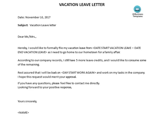 What are some examples of a vacation leave letter? - Quora
