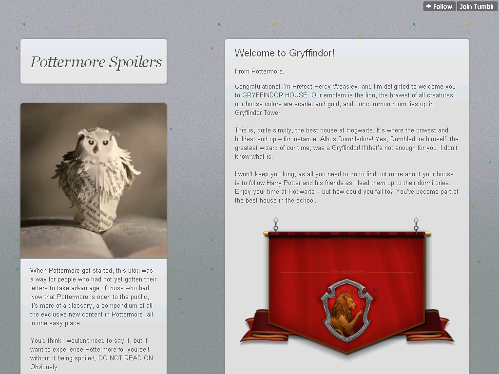 He Belonged To Gryffindor This Image Claims Be From Pottermore Which Is Canon