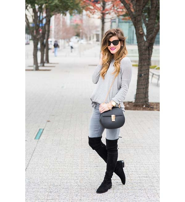6d8406c14f Here s an outfit with a lighter shade of grey jeans and a light grey sweater.  Again note how black footwear and a black handbag complete the outfit in a  ...