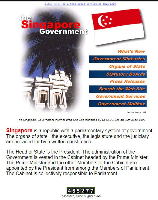 singapore e government Today we are no longer talking about e-government potential for collaboration between middle east countries and singapore, either at a government or at a.