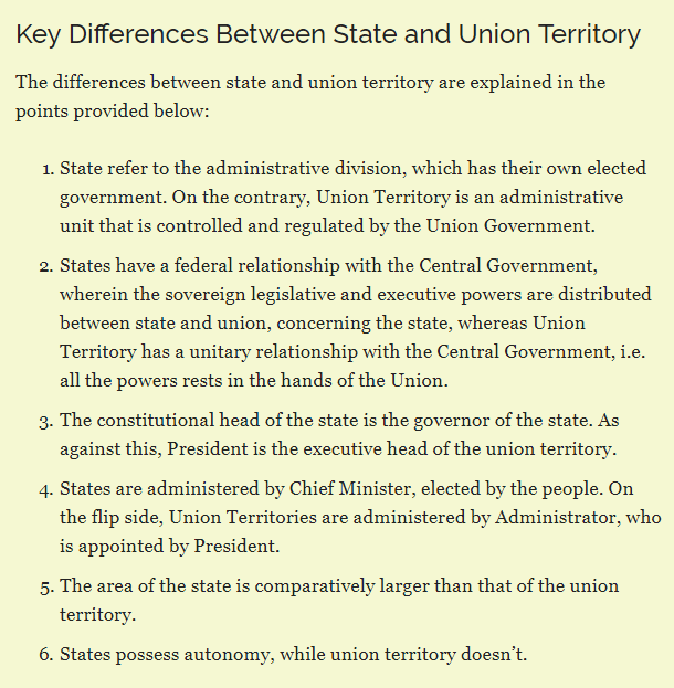 Whats The Difference Between Administrative And Executive >> What Are The Differences Between State Union Territory Quora