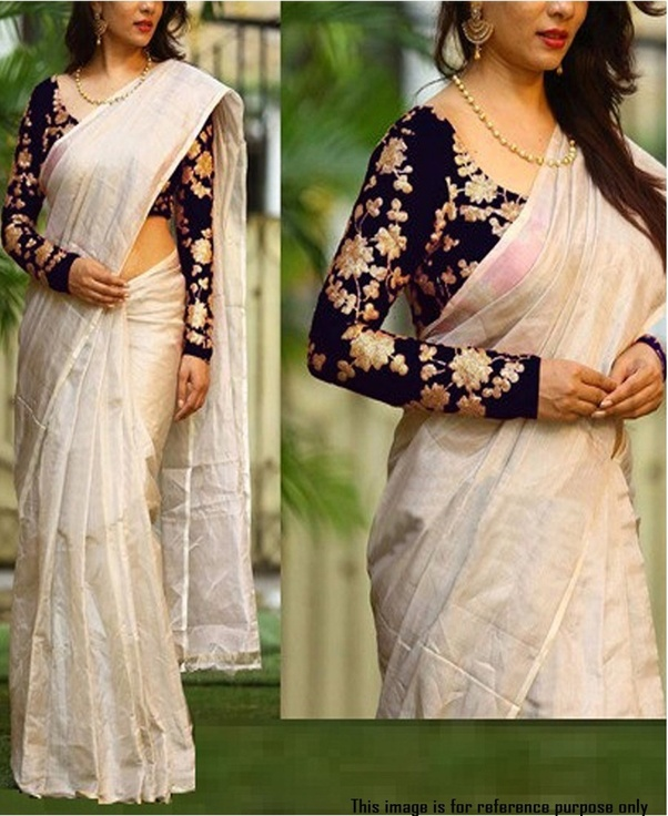 0498dcfe23 Heavily embroidered designer blouse of any color: The latest trend is to  wear simple sarees with designer blouses and nothing looks better with a  heavily ...