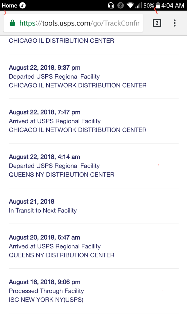 Where does a package go after it leaves the ISC USPS in New York