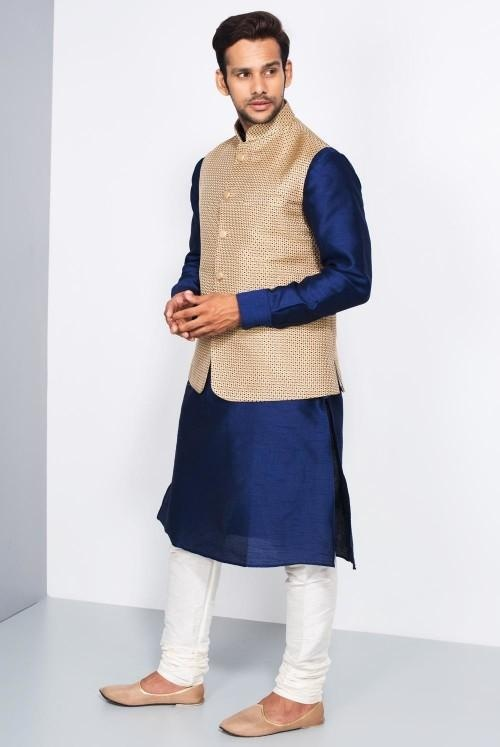 2927b0393f8 But the combination of Kurta and Nehru Jacket colour is more important.  Pairing white colour pyjama with dark coloured kurta and dark colour Nehru  Jacket is ...