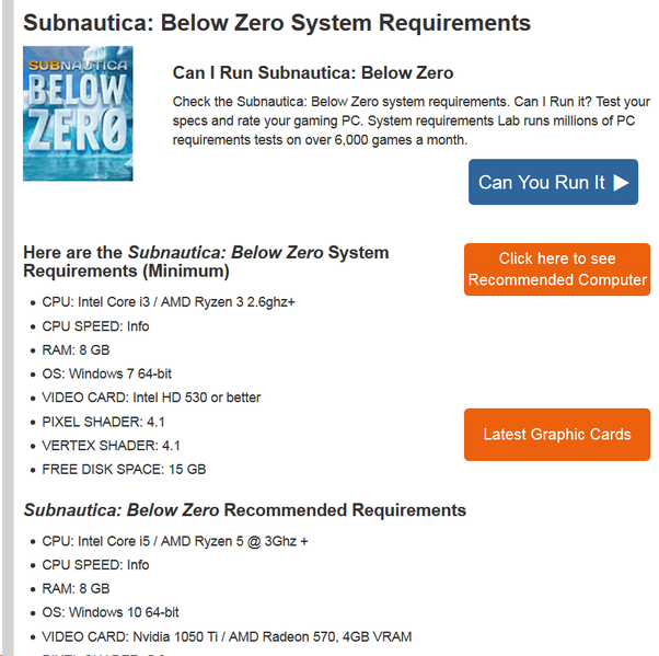 Can I run Subnautica: Below Zero with i3 3240 and GTX 1050