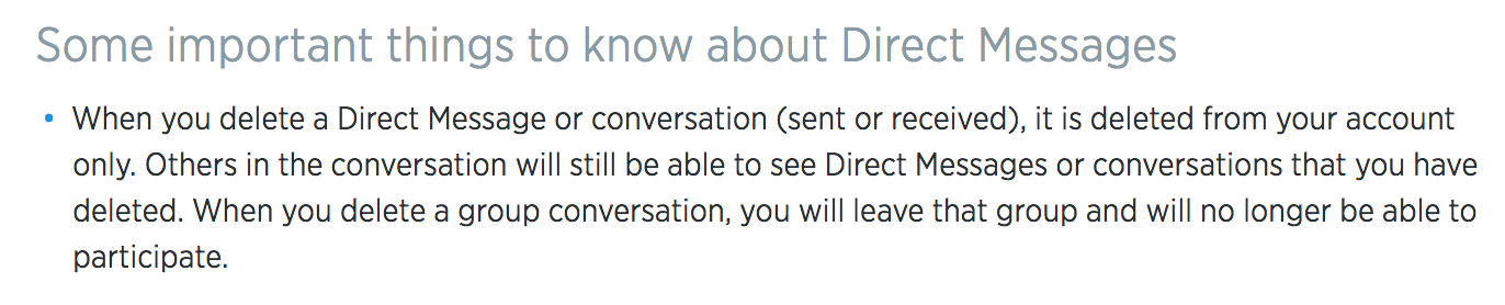 What is the reasoning behind Twitter letting you delete Direct