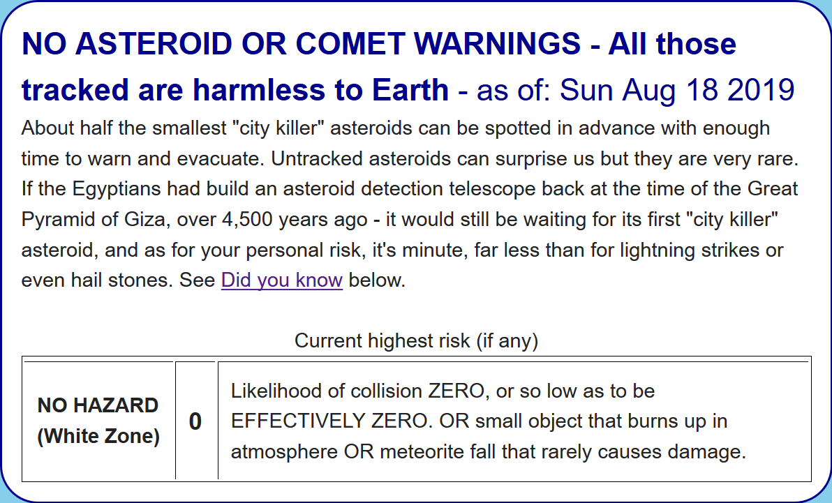 No Asteroid Warning For 2007 FT3 - What NASA's Sentry Table