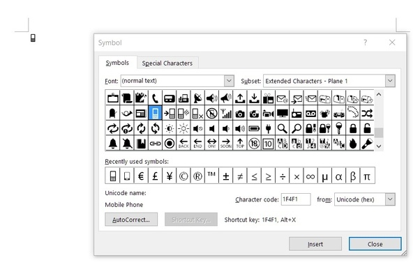 How to insert the mobile phone symbol in Microsoft Word - Quora