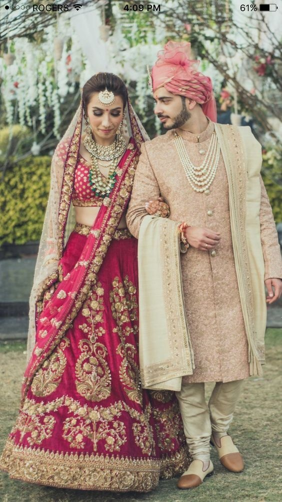 What Color Sherwani Will Match A Dark Pink Sharara