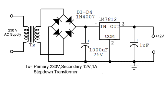 how to convert 230v ac to 12v dc
