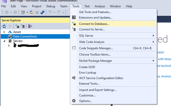 Why can I not create my SQL database in the Visual Studio 2017