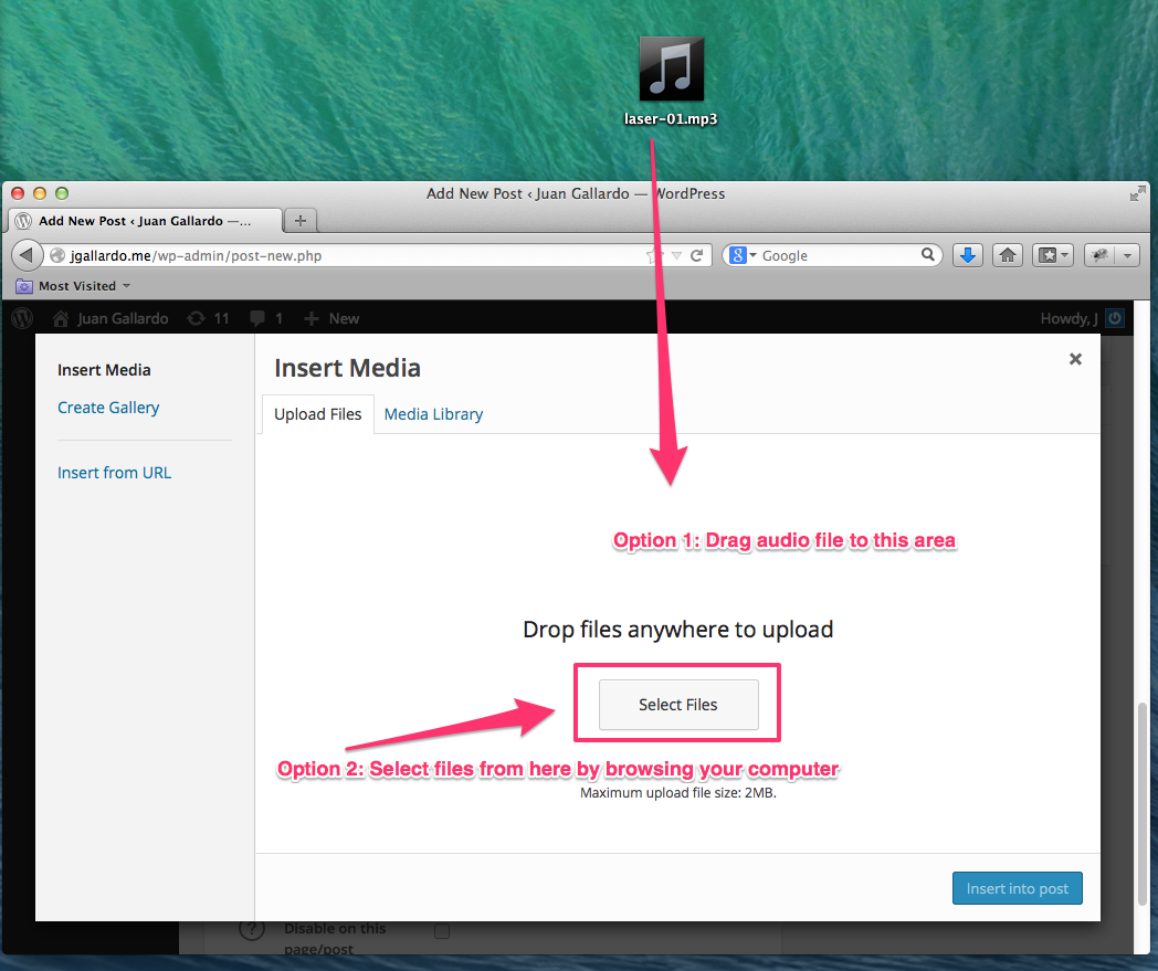 How to upload audio files into a blog post on WordPress - Quora