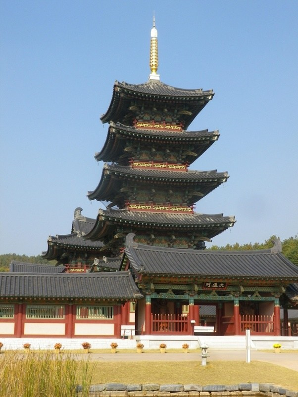 Wooden Pagoda Built In Japan During The Chinese Tang Dynasty Era By Paekche Korean Architects And Craftsmen Five Storied Four Sided Gently Curving