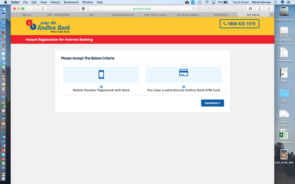 How to register online for internet banking with Andhra Bank - Quora