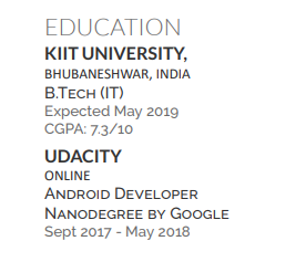 Where is it better to place an Udacity Nanodegree inside my CV: in
