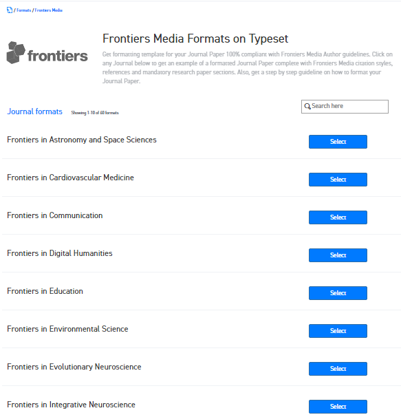 Where can I find the Word template for Frontiers Media journals for ...