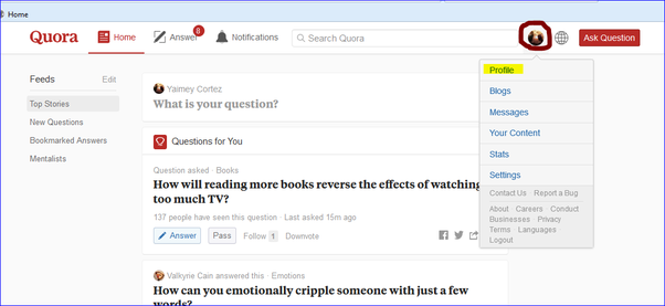 How to create a blog on quora quora then click on profile fandeluxe Images