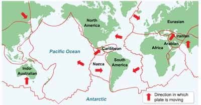 all tectonic plates moves in a direction and having convergent and  divergent boundaries