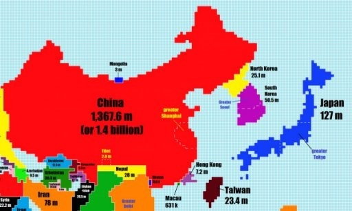 What are some great world map visualizations quora australia looks teensy tiny compared to india which has caught up with china as being one of the worlds most populated countries gumiabroncs Images
