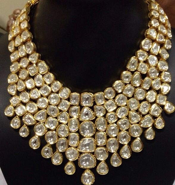 diamond malabar collection gold necklace jewellery models uncut designs latest