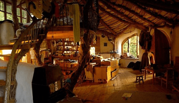it would be great as the interior for a tree house with the raw wood beams and the furnishings its not unlike a hobbit home - Tree House Interior Ideas
