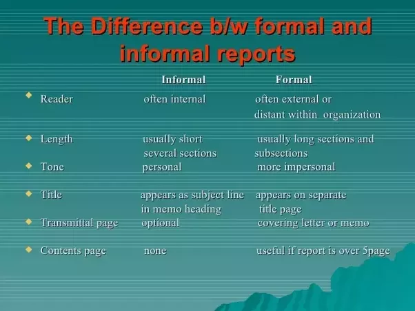 How do formal and informal report writing differ quora a formal report is usually written in a prescribed format and there are clear procedures on how to write the report the procedure to file the report and spiritdancerdesigns Image collections