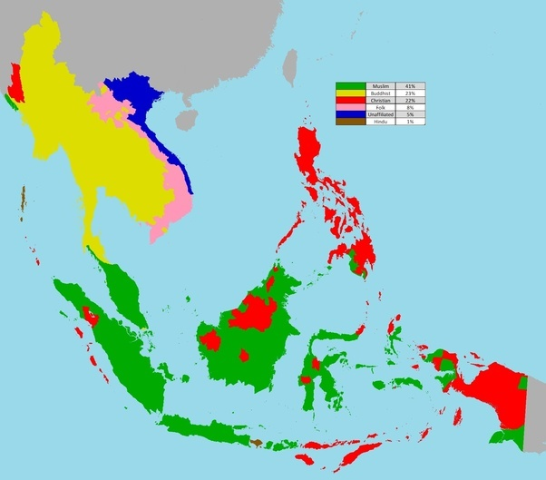 If southeast Asia was initially a Buddhist, animist, and Hindu majority region, how did these