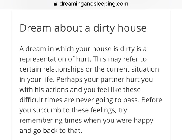 What does it mean when you dream that you are in a dirty