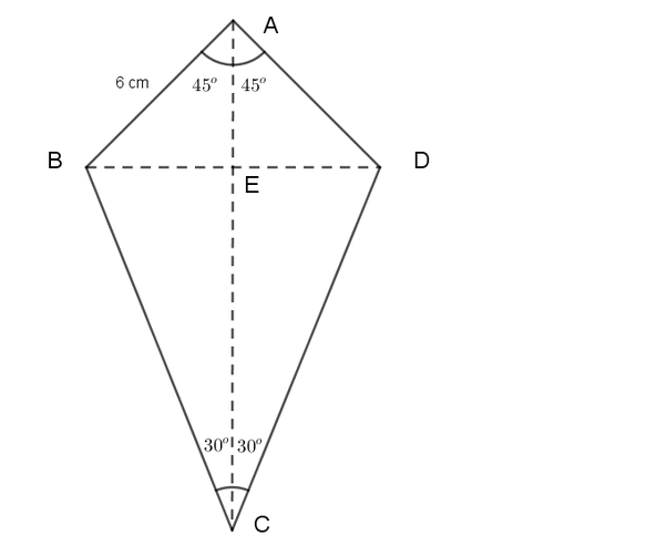 abcd is a kite whose angle a 90 angle c 60 and the length of