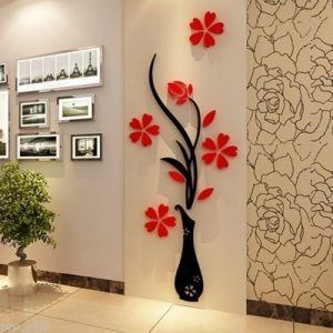 Karigaari India Blossom Flower Vase Crystal Acrylic Wood 3D Wall Stickers Home Decor Red