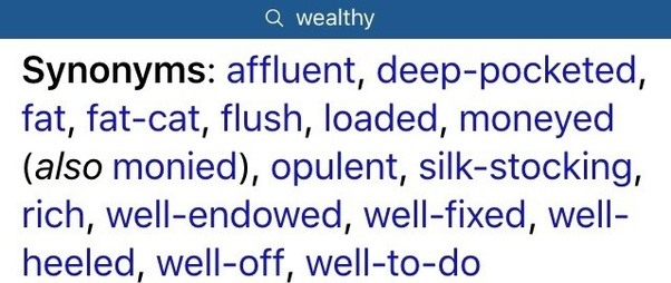 What is the first letter of an eight letter word meaning wealthy