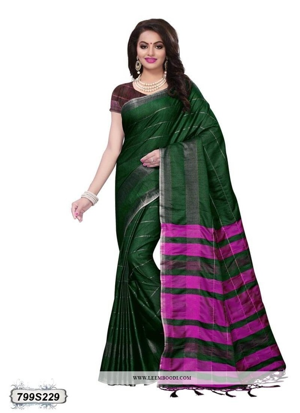 Red Golden Silver Dark Pink Blue Colors Will Match With Green Saree