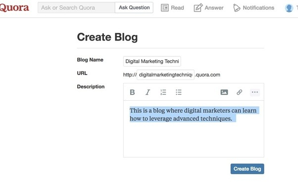 How to create a blog on quora quora you can now create a blog from there you can start writing posts fandeluxe Images